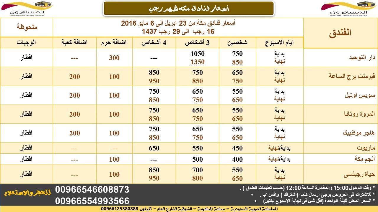 أسعار فنادق مكة