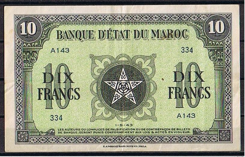 المغرب ... 10 فرنك ورقي 1943 939193642
